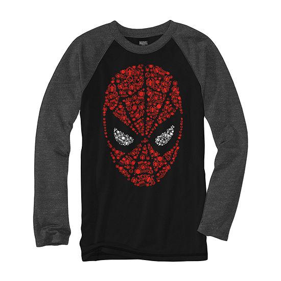 Boys Crew Neck Long Sleeve Spiderman Graphic T-Shirt - Preschool / Big Kid