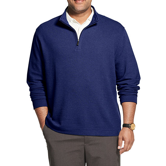 Van Heusen Big and Tall Never Tuck Mens Long Sleeve Quarter-Zip Pullover