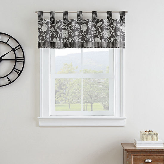 Waverly Stencil Vine Light-Filtering Tab Top Valance