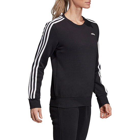 adidas Ess Stripe Fleece Womens Crew Neck Long Sleeve Sweatshirt