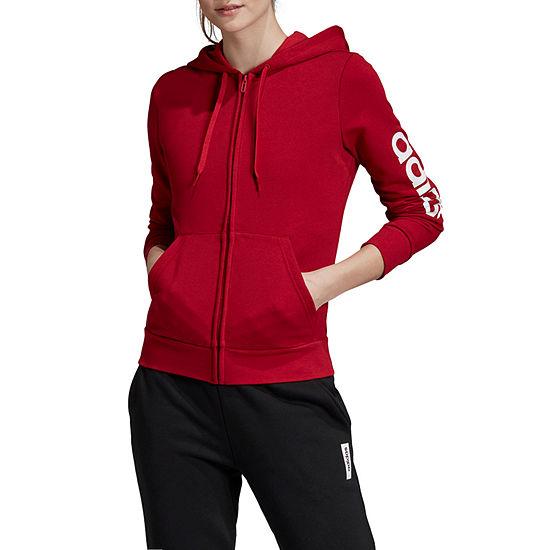 adidas Ess Linear Full Zip Womens Long Sleeve Knit Hoodie