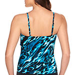 Vanishing Act By Magic Brands Slimming Control Animal Tankini Swimsuit Top