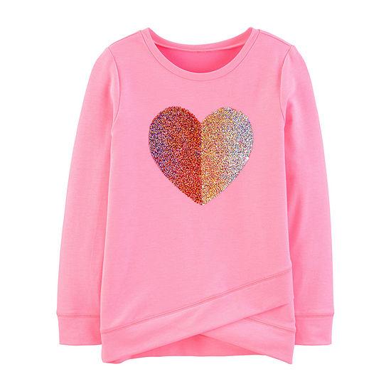 Oshkosh Crew Neck Long Sleeve Graphic T-Shirt Preschool / Big Kid Girls