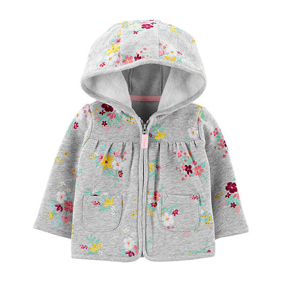Carter's Girls Hooded Neck Long Sleeve Floral Cardigan Baby