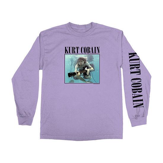 Kurt Cobain Mens Crew Neck Long Sleeve Music Graphic T-Shirt