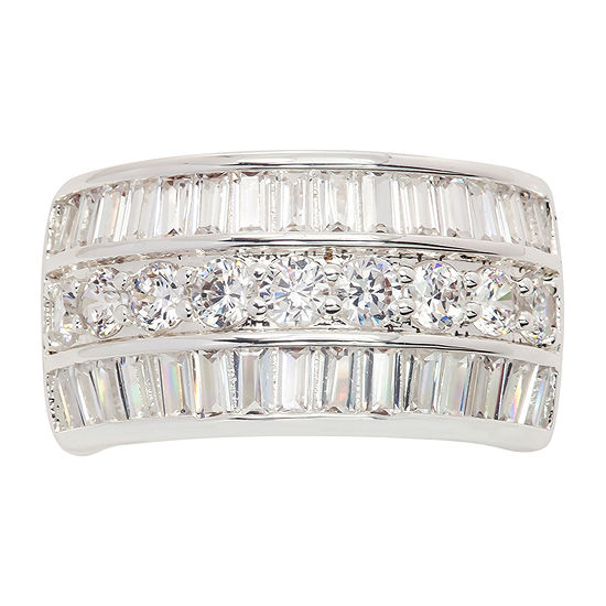 Sparkle Allure Cubic Zirconia Pure Silver Over Brass Oval Band