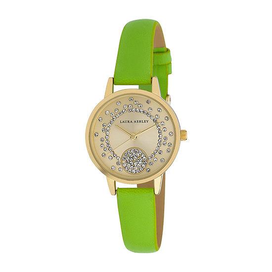 Laura Ashley Womens Green Strap Watch-La31102gn