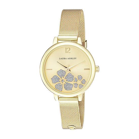 Laura Ashley Womens Gold Tone Stainless Steel Strap Watch-La2028yg