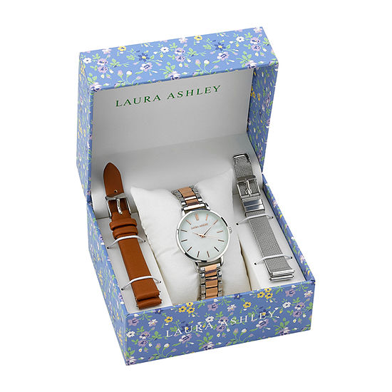 Laura Ashley Womens Stainless Steel Watch Boxed Set-Lass1107ss