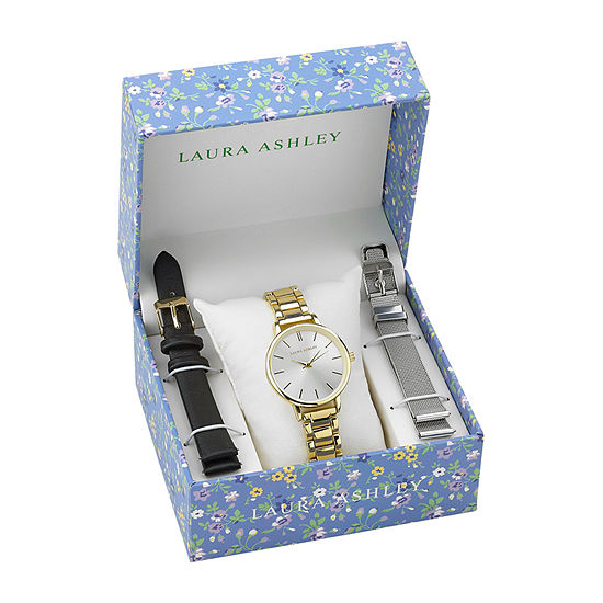 Laura Ashley Womens Stainless Steel Watch Boxed Set-Lass1107yg
