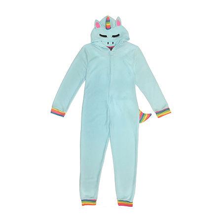 Unicorn Little & Big Unisex Fleece Long Sleeve One Piece Pajama, Small , Blue