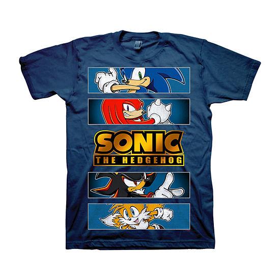 Little & Big Boys Crew Neck Sonic the Hedgehog Short Sleeve Graphic T-Shirt
