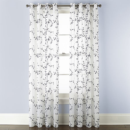 Linden Street Brooke Embroidered Sheer Grommet Top Single Curtain Panel, One Size , White