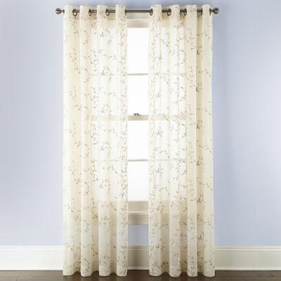 Linden Street Brooke Embroidered Sheer Grommet-Top Single Curtain Panel
