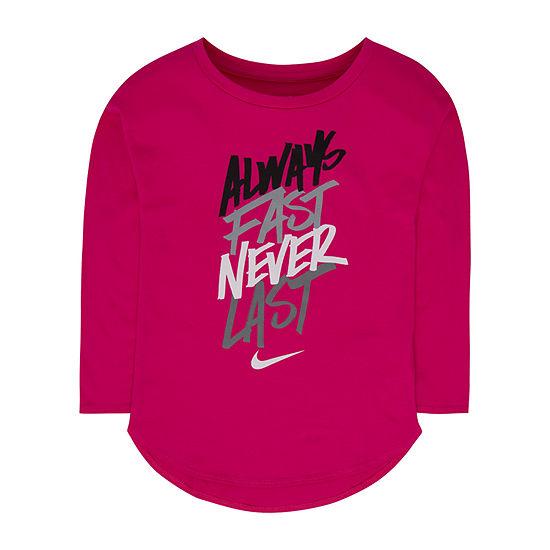Nike Little Girls Round Neck Long Sleeve T-Shirt