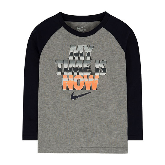 Nike Little Boys Round Neck Long Sleeve Graphic T-Shirt