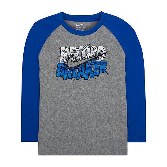 Nike Little Boys Round Neck Long Sleeve T-Shirt