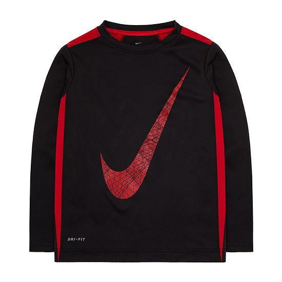 Nike Little Boys Crew Neck Long Sleeve T-Shirt