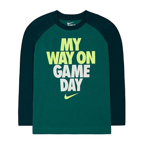 Nike Little Boys Round Neck Long Sleeve Graphic T-Shirt