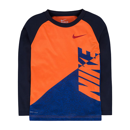 Nike Little Boys Round Neck Long Sleeve T-Shirt