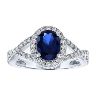 Limited Time Special! Womens Lab Created Blue Sapphire Sterling Silver Cocktail Ring