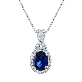 JCPenney Blue Sapphire Sterling Silver Pendant Necklace