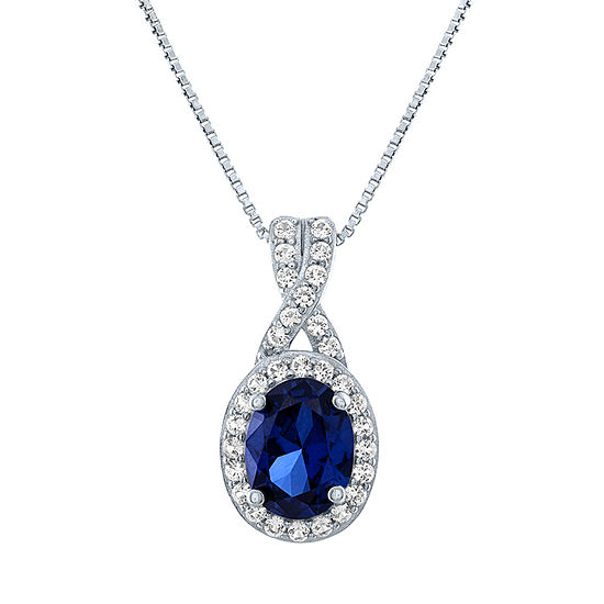 Limited Time Special! Womens Lab Created Blue Sapphire Sterling Silver Pendant Necklace