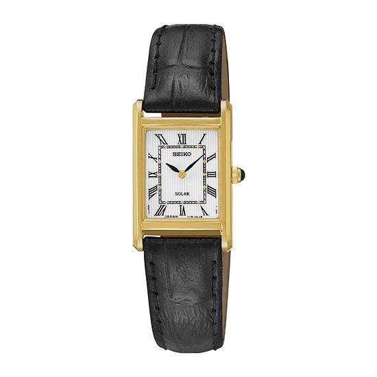 Seiko® Womens Black Leather Strap Solar Watch SUP250