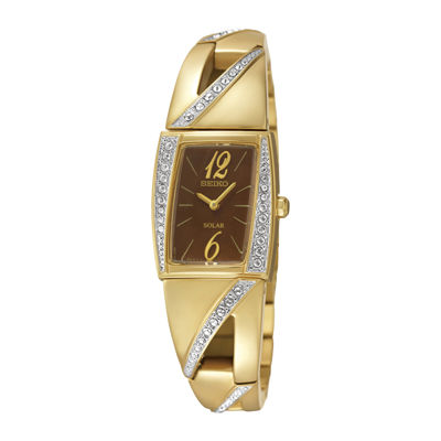 Seiko® Womens Cystal-Accent Gold-Tone Stainless Steel Slim Solar Watch SUP248