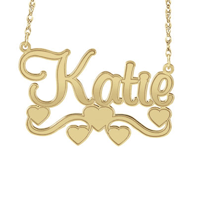 Personalized 14K Gold Over Sterling Silver Name Necklace with Hearts