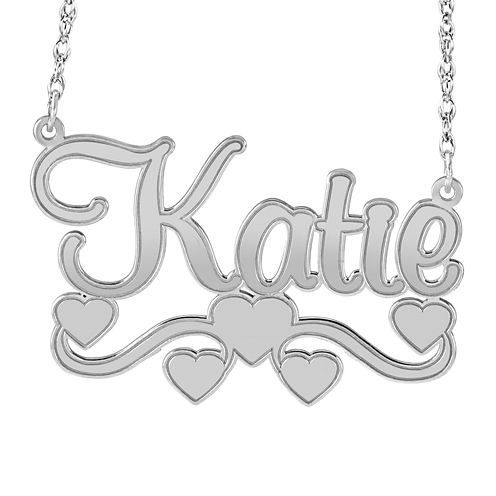 Personalized Sterling Silver Name Necklace with Hearts