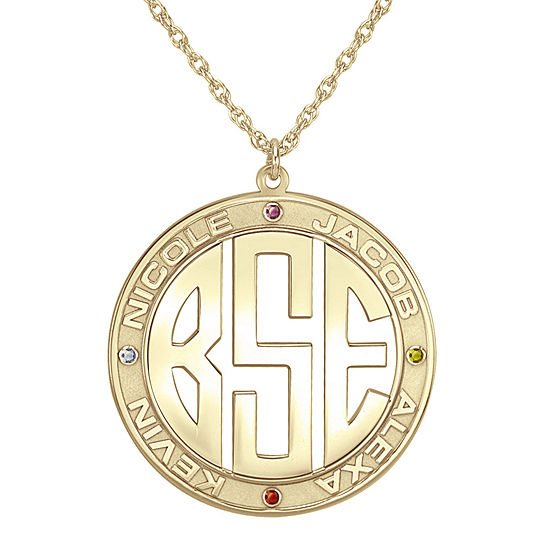Personalized 14K Gold Over Sterling Silver 30mm Family Birthstone Pendant Necklace