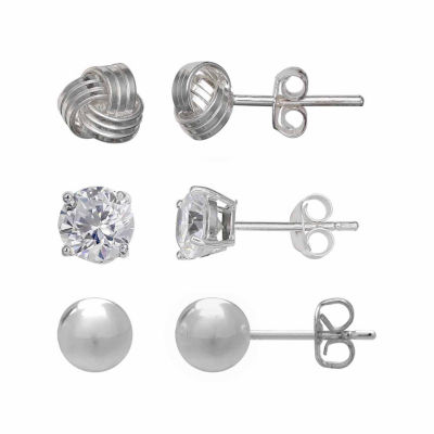 Silver Treasures Clear Cubic Zirconia Round Earring Set