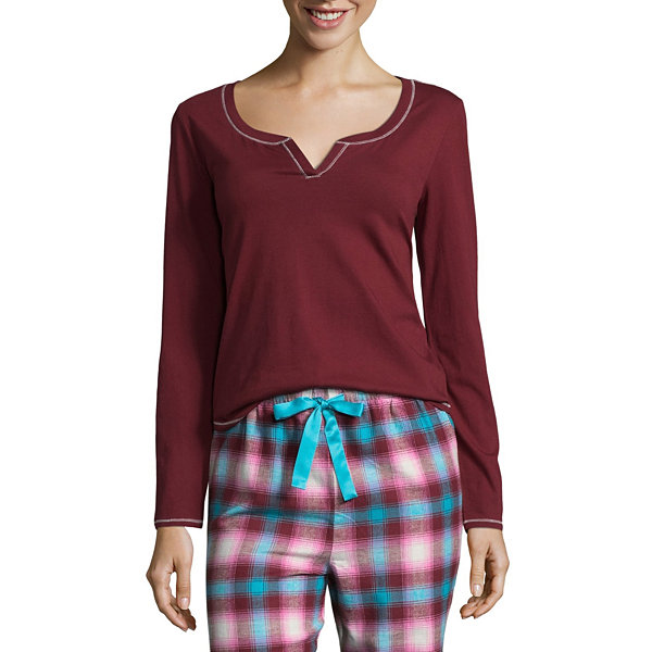 Sleep Chic Long Sleeve Henley Pajama Top