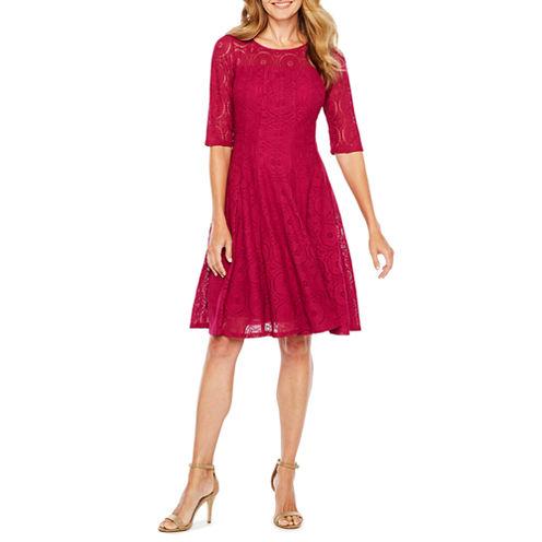 Rabbit Design 3/4 Sleeve Lace Fit & Flare Dress