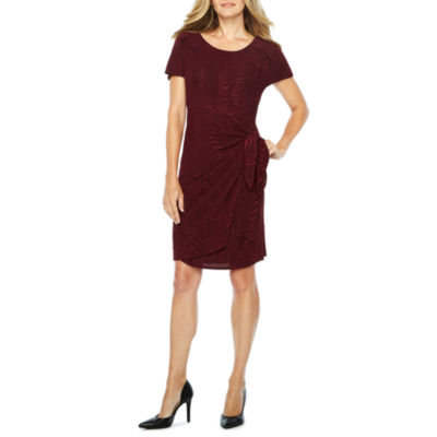 Robbie Bee Short Sleeve Waves Sheath Dress-Petites