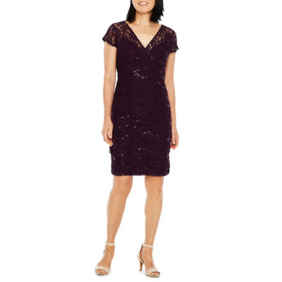 Scarlett Short Sleeve Lace Tiered Sheath Dress