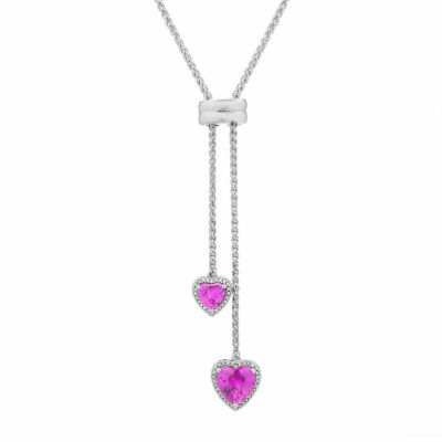 Womens 1/10 CT. T.W. Lab Created Pink Sapphire Sterling Silver Strand Necklace
