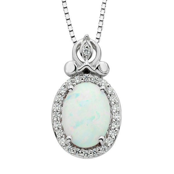 "Enchanted Disney Fine Jewelry 1/10 CT. T.W. Diamond and Lab-Created Opal ""Cinderella"" Sterling Silver Pendant Necklace"