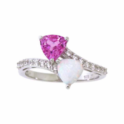Womens Lab-Created Opal & Pink and White Lab-Created Sapphire Sterling Silver Cocktail Ring