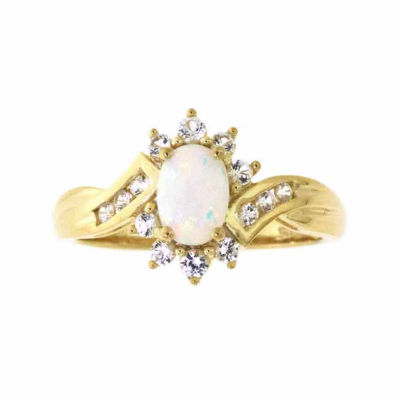 Lab-Created Opal & Lab-Created White Sapphire 14K Gold Over Silver Cocktail Ring