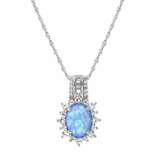 Womens Lab Created Blue Opal Sterling Silver Pendant Necklace