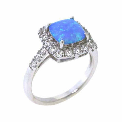 Womens Lab Created Blue Opal Sterling Silver Cocktail Ring