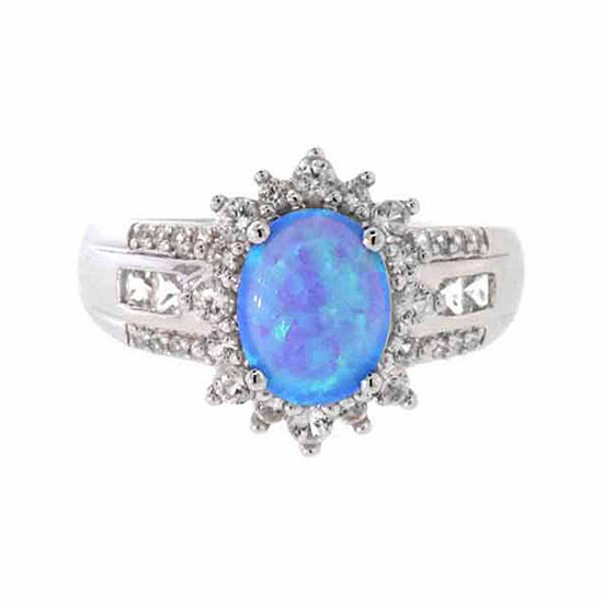 Womens Lab Created Blue Opal Cocktail Ring