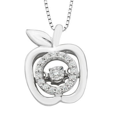 Womens 1/10 CT. T.W. Genuine White Sterling Silver Snow White Pendant Necklace