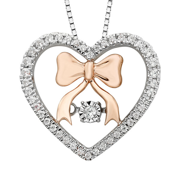 Enchanted Disney Fine Jewelry 1/5 CT. T.W. 10K Rose Gold & Sterling Silver Snow White Pendant Necklace