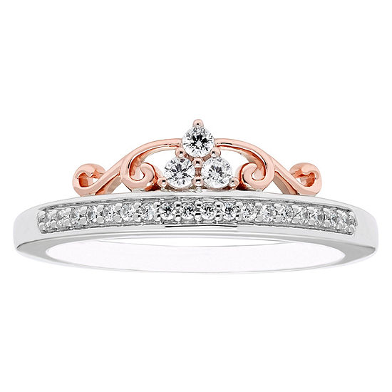Enchanted Disney Fine Jewelry Womens 1/6 CT. T.W. Genuine Diamond 10K Gold Promise Ring