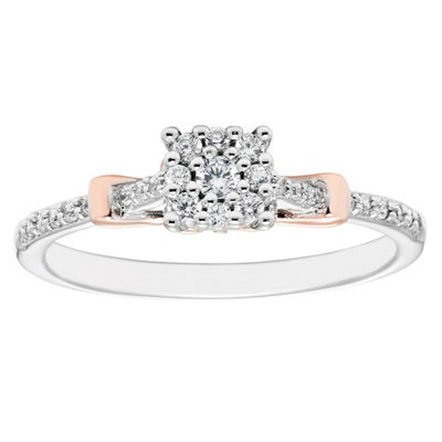Enchanted Disney Fine Jewelry Womens 1/5 CT. T.W. Genuine Diamond 10K Gold Promise Ring