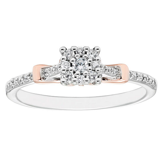 Enchanted Disney Fine Jewelry Womens 1/5 CT. T.W. Genuine Diamond 10K Gold Promise Ring