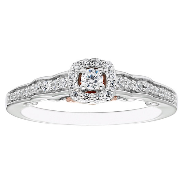Enchanted Disney Fine Jewelry Womens 1/4 CT. T.W. Genuine Round Diamond 10K Gold Promise Ring